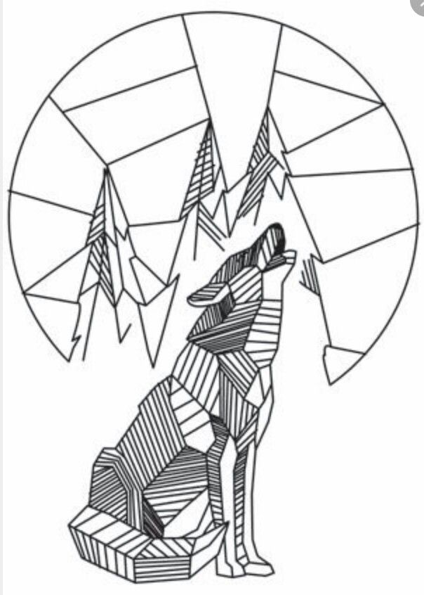 Drawing Lines With C : Embroidery patterns mountains wolf illustration