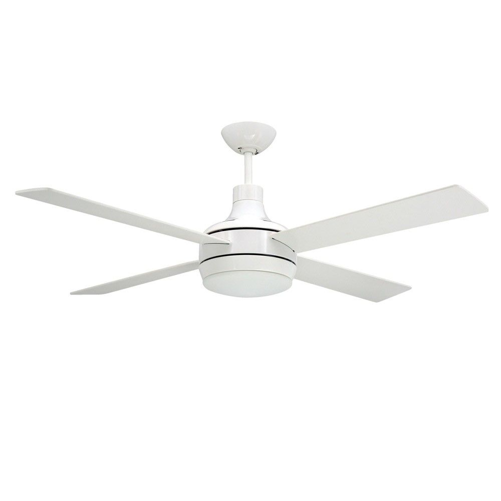 blade white ceiling fan with light