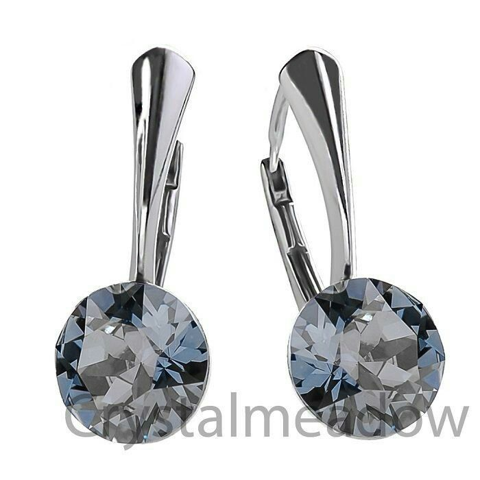 925 Sterling Silver Leverback Earrings XIRIUS Crystal Genuine Swarovski Elements-Blue Shade-$12.73 (.925 Silver,Rose Gold Plated,Gold Plated)