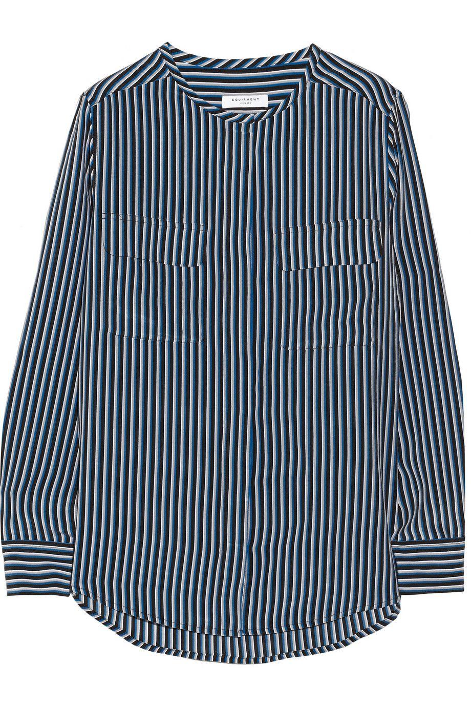 EquipmentLynn striped washed-silk shirt