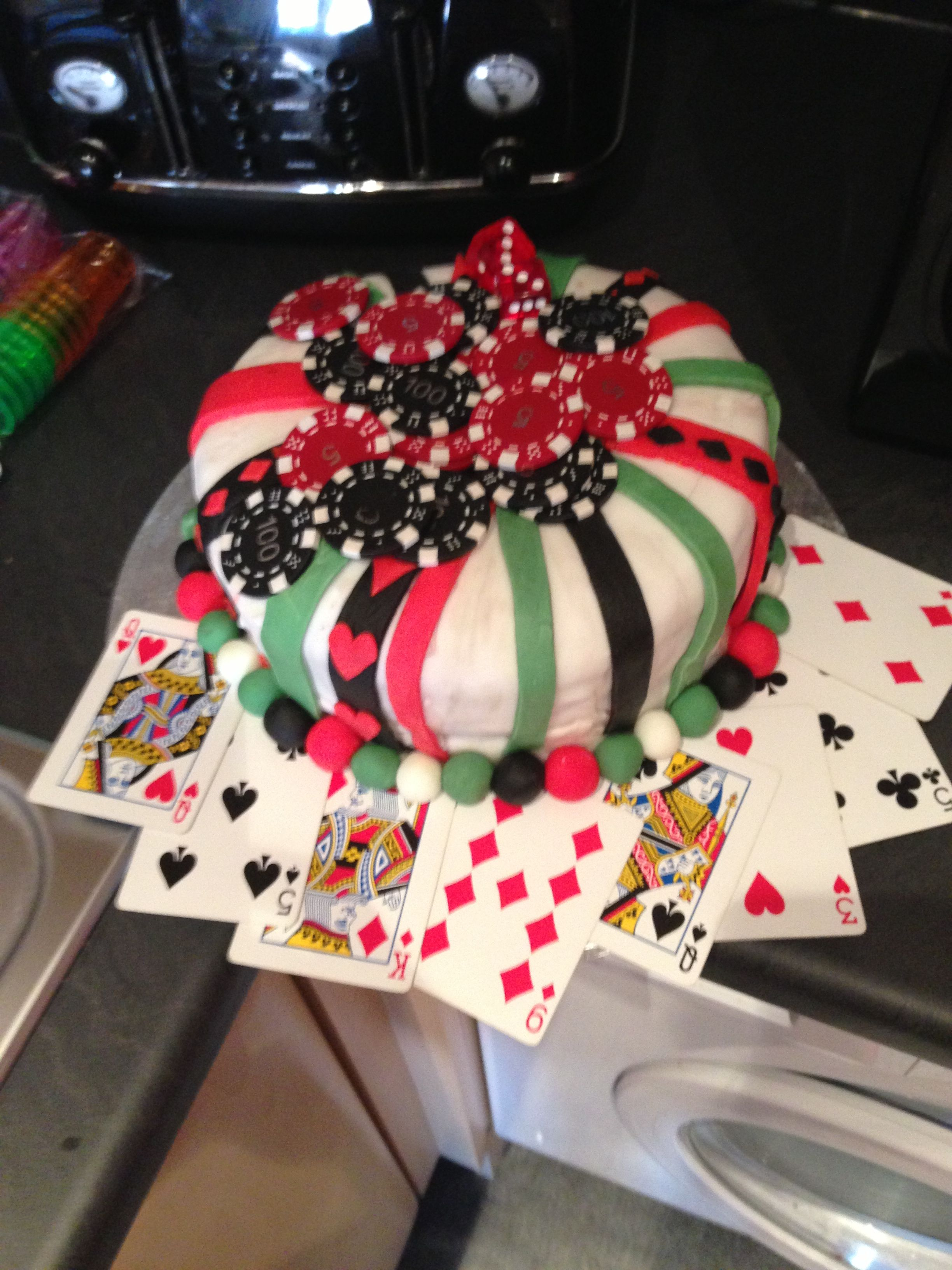 Poker cake red green white and black