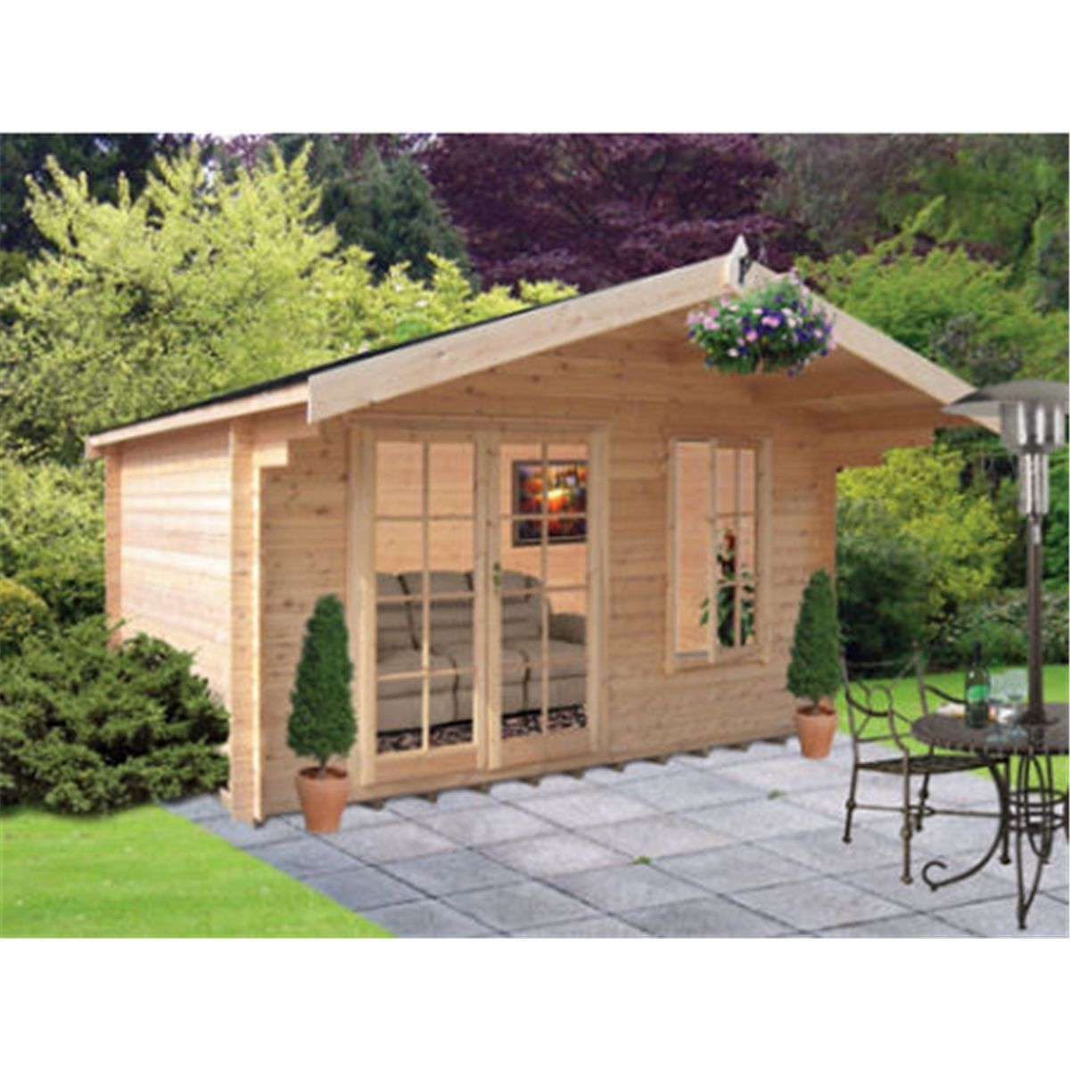 4 19m X 2 39m Log Cabin Fully Glazed Double Doors 4 19m X 2 39m 28mm Wall Thickness Shedsfirst In 2020 Double Doors Summer House Log Cabin