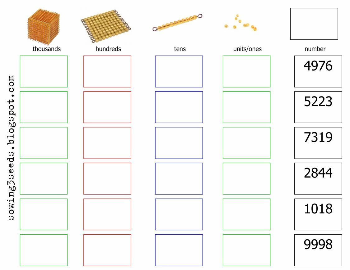 Place value worksheet / Hoja de valor posicional con Montessori ...