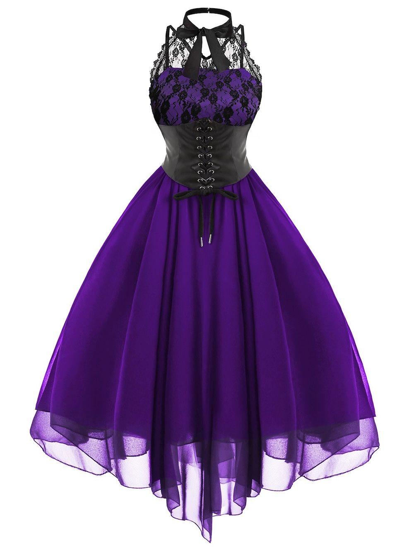 Gothic Cross Back Lace Panel Corset Dress | Schöne kleidung, Für sie ...