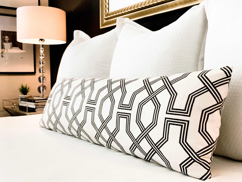 Black Extra Long Geometric Lumbar Pillow Modern Mid