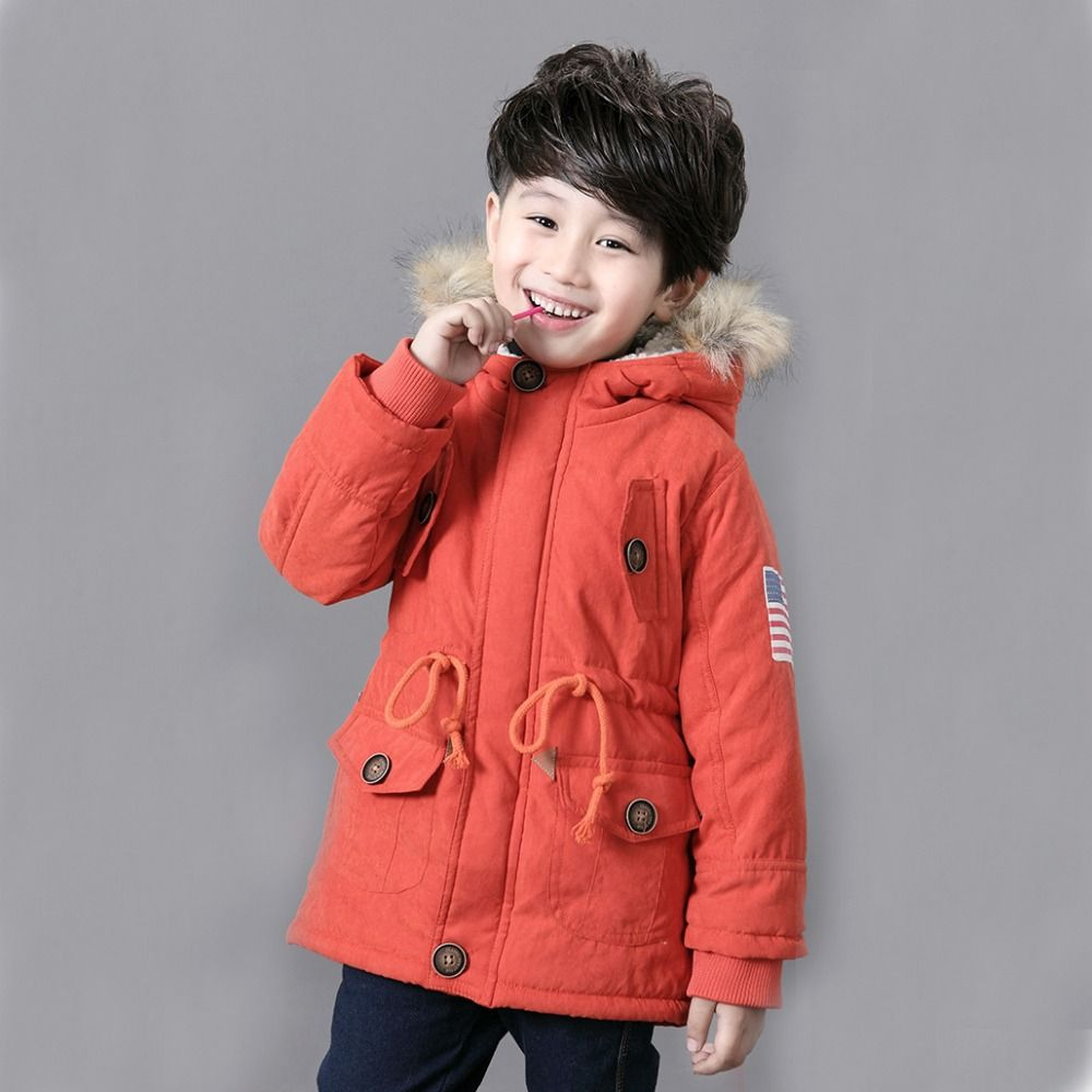 fc69da83fa17 Children Jackets Winter Warm Cotton Coat Padded Boys Fur Collar Baby Down  Kids Clothing Outerwear Infant Overcoat Girls Parka