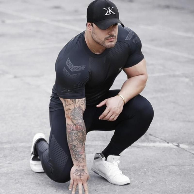 Men Bodybuilding Fitness Gym Workout Sports Tops T-Shirt Crossfit Jogging Black