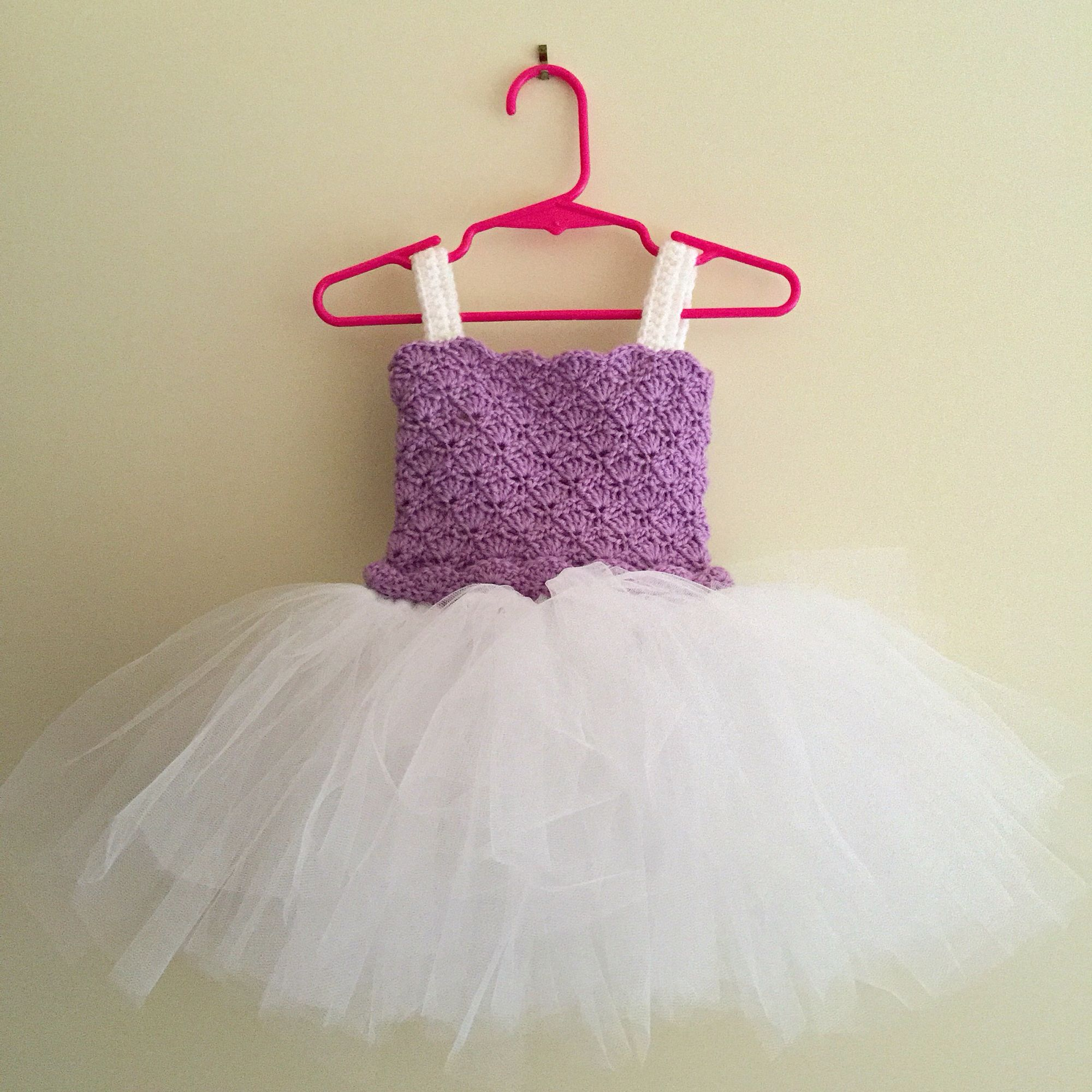 Baby Tutu Dress hand crocheted bodice in shell pattern with