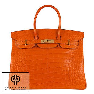 302482db54 Orange Birkin 35cm Hermes Feu Matte Alligator Crocodile Gold Ghw Bag Bnib