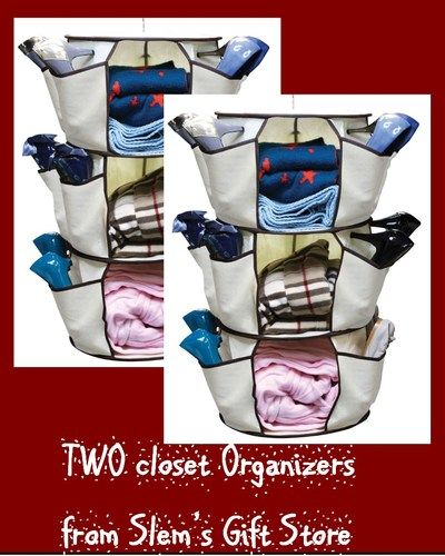 Organize Now! TWO Hanging Closet organizer shoes purses scarves laundry room crafts linens NIB  http://stores.ebay.com/Slems-Gift-Store or order directly from me at dslem3@yahoo.com for 20% off anything in the store!