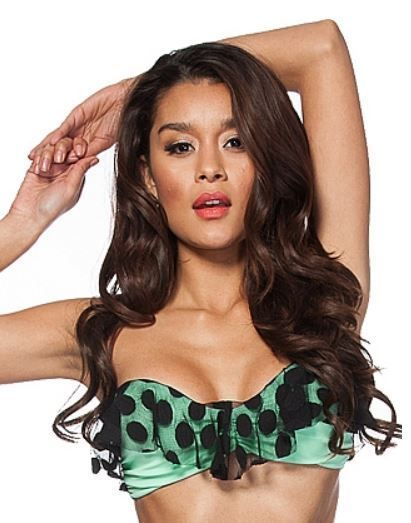 89f5f708 Ruffle Bandeau Lace Dot Bikini Top in Mint, $64.00 Add excitement to your  top half! Free shipping in the USA