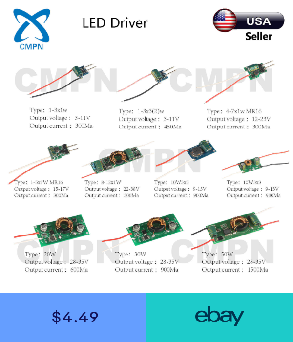 3w 5w 10w 20w 30w 50w High Power Led Driver Supply Ac 12 24v Constant Current Power Led Led Drivers Electrical Projects