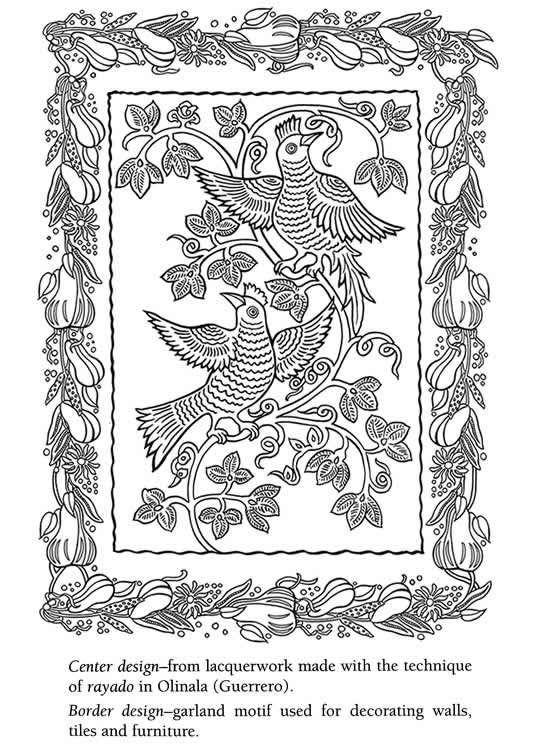 Mexican folk art coloring book coloring page 2 dover sample could