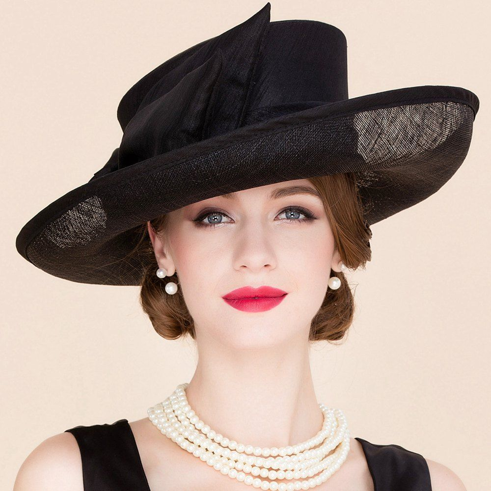 Elegant Lady Style Exaggerated Bow Decorated Formal Occasion Black Linen Church Hat