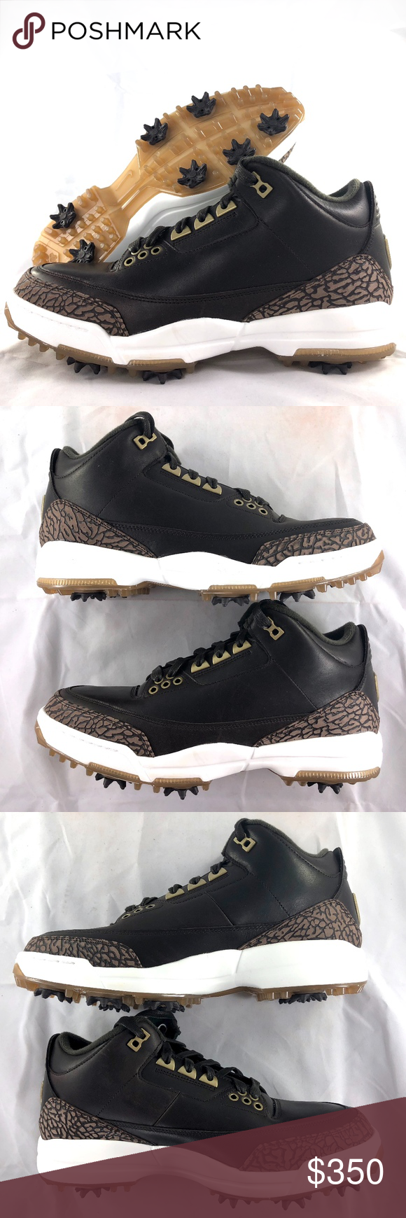 5055fbf773ede3 Nike Air Jordan 3 Golf Premium Brown White Shoes Nike Air Jordan 3 Golf PRM  Premium