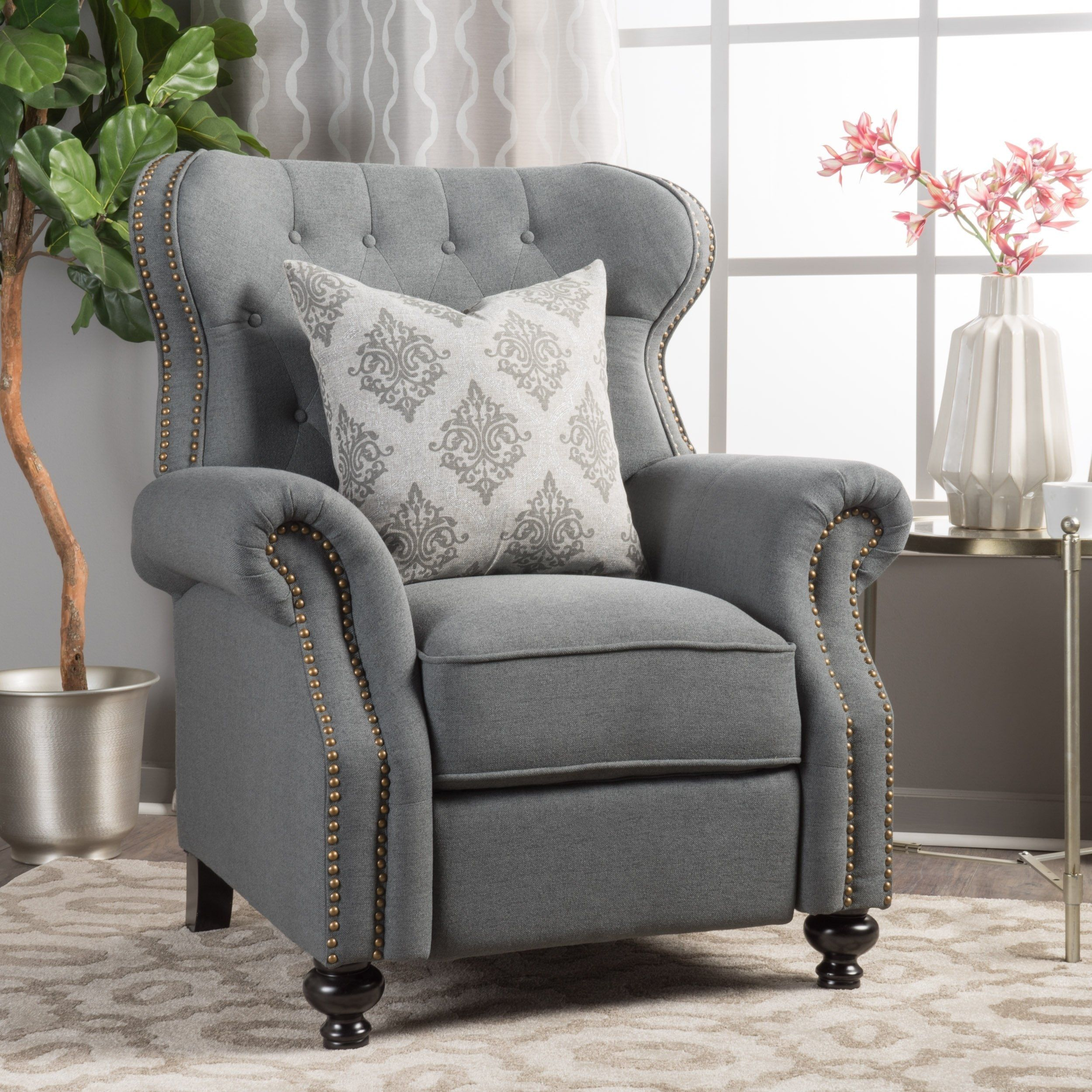 Upholstered Chairs Reclining Armchair, Club Chair Recliner Fabric
