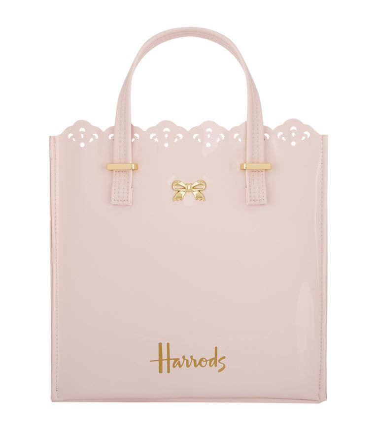 HARRODS NEW SEASON BABY PINK GOLD SIGNATURE LOGO SMALL ZIP TOP SHOPPER BAG