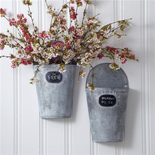 Set Of 2 Tin Vases Flower Buckets French Provincial Floral Style Homewares Decor