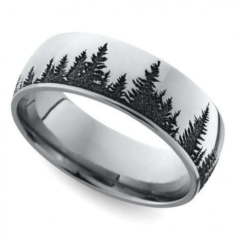 This Domed 7 Mm Band Features A Serene Pine Forest Pattern Laser Carved Into Cobalt For Unique Look Proudly Made In The USA And Comfort Fit