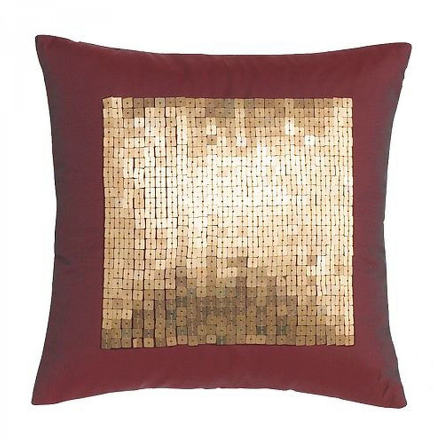 IKEA Fenja Paljett Throw PILLOW Cushion GOLD SEQUINS Burgundy Red  ...