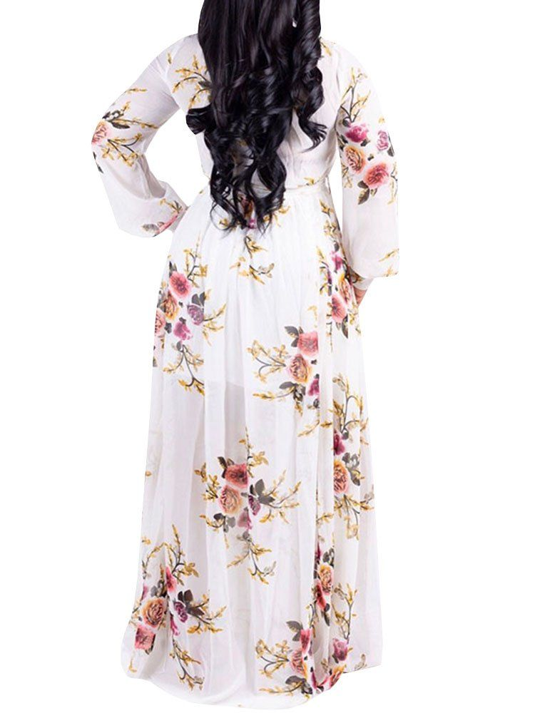 4e0824c93601 Maternity Fashion - Hestenve Womens Long Sleeve Floral Maxi Dress Chiffon  Lining Printed Sexy Summer Dresses Plus Size ** Read more evaluations of  the ...