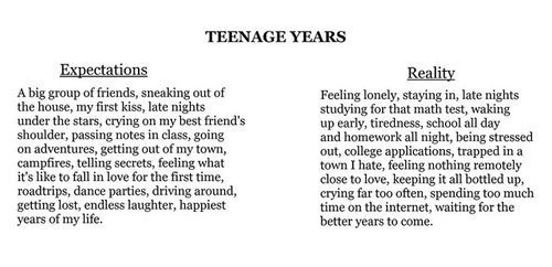 Teenage Years Expectations Vs Reality Quotes Pinterest Magnificent Quotes About Life As A Teenager