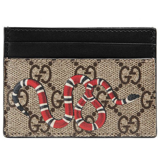 eedc65adda9e Gucci Snake Print Gg Supreme Card Case ($270) ❤ liked on Polyvore featuring  bags