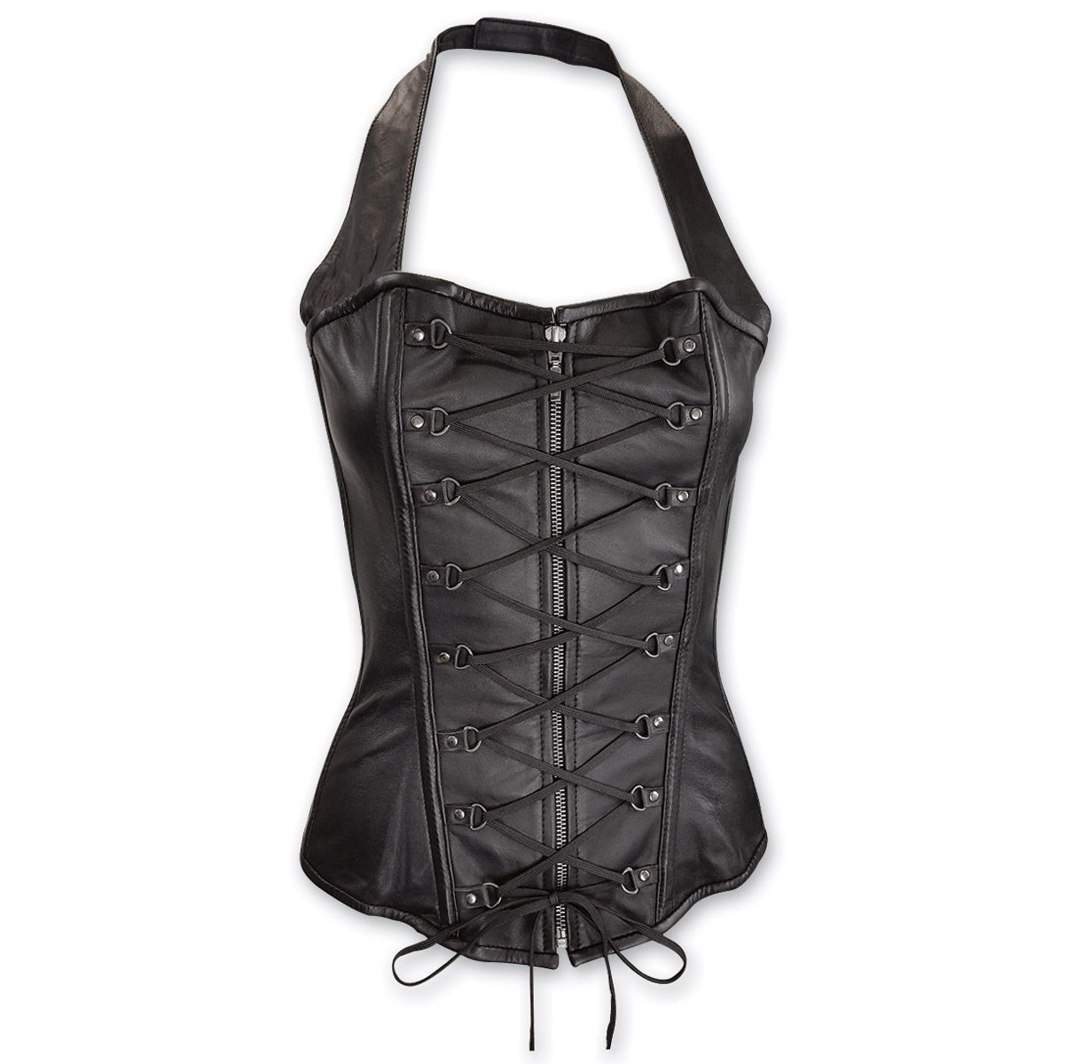 20fc8aa1a99 Vance Leathers Women s Lace Front Halter Black Leather Corset ...
