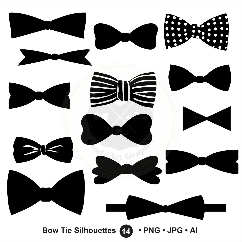 Bow Tie Silhouettes Svg Bow Tie Clipartbundle Svgbow Tie Etsy Clip Art Bows Clipart Design