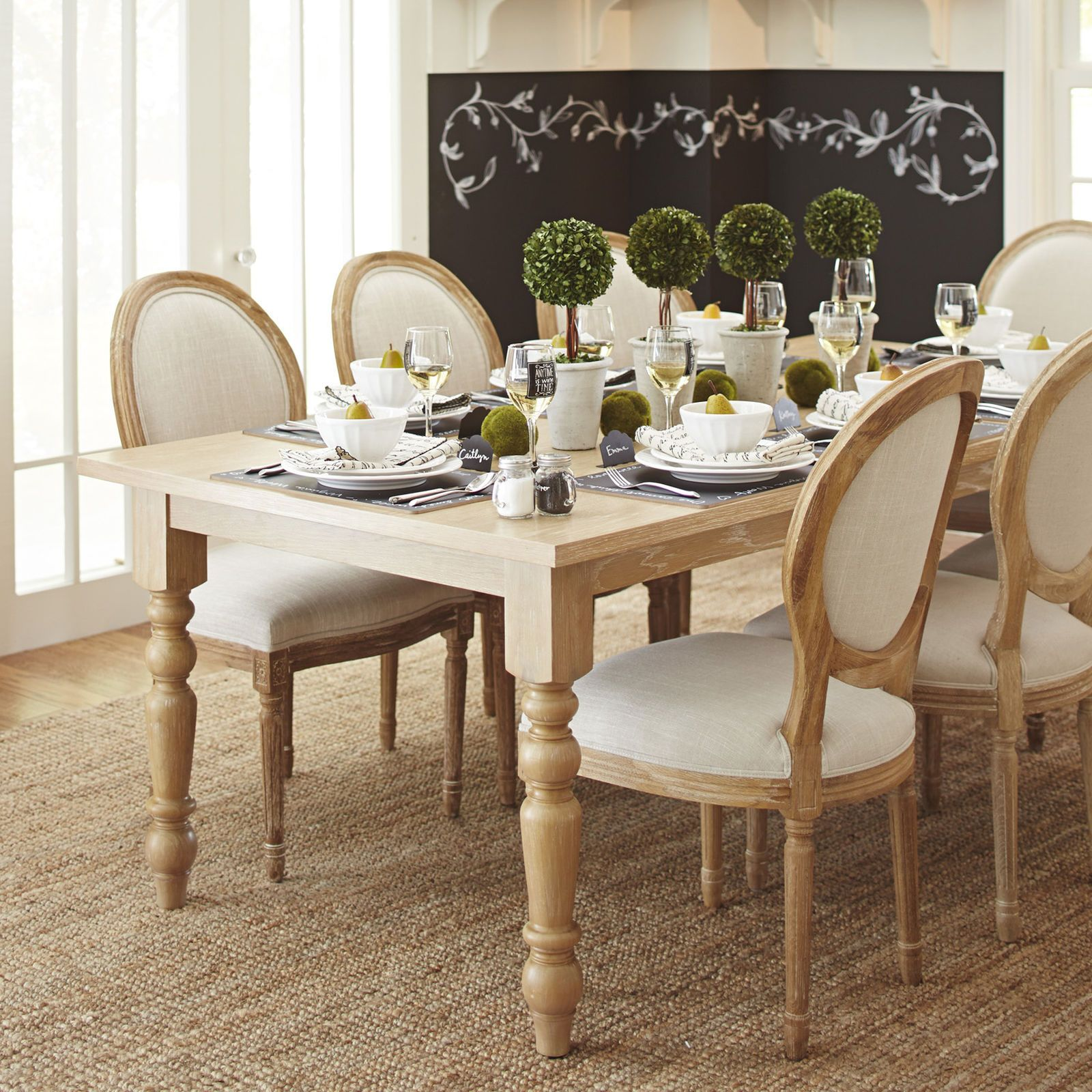 "Torrance 84"" Natural Whitewash Turned Leg Dining Table"