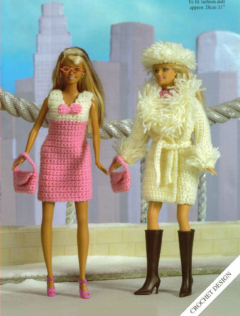 Crochet Barbie Doll Clothes Dress Coat Hat and Bag Vintage Pattern jacket barbie outfit beanie Cardigan toys purse beach jacket PDF Download