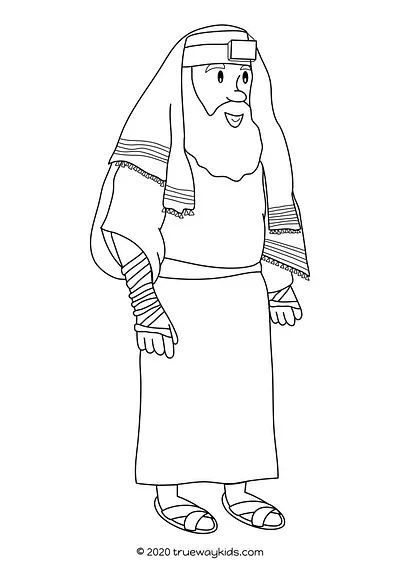 Nicodemus coloring page. Color the pharisee who came to