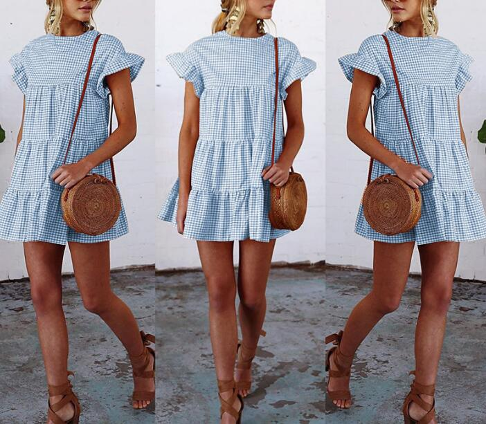 Women pleated plaid dress New style summer elegant checkered flare sleeve loose casual sweet dresses mini dress vestidos|dress vestidos|mini dressplaid dress - AliExpress