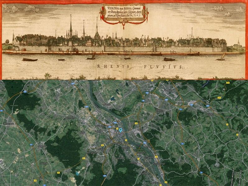 Bonn Germany Map Then And Now Httpoldcities - Germany map then and now