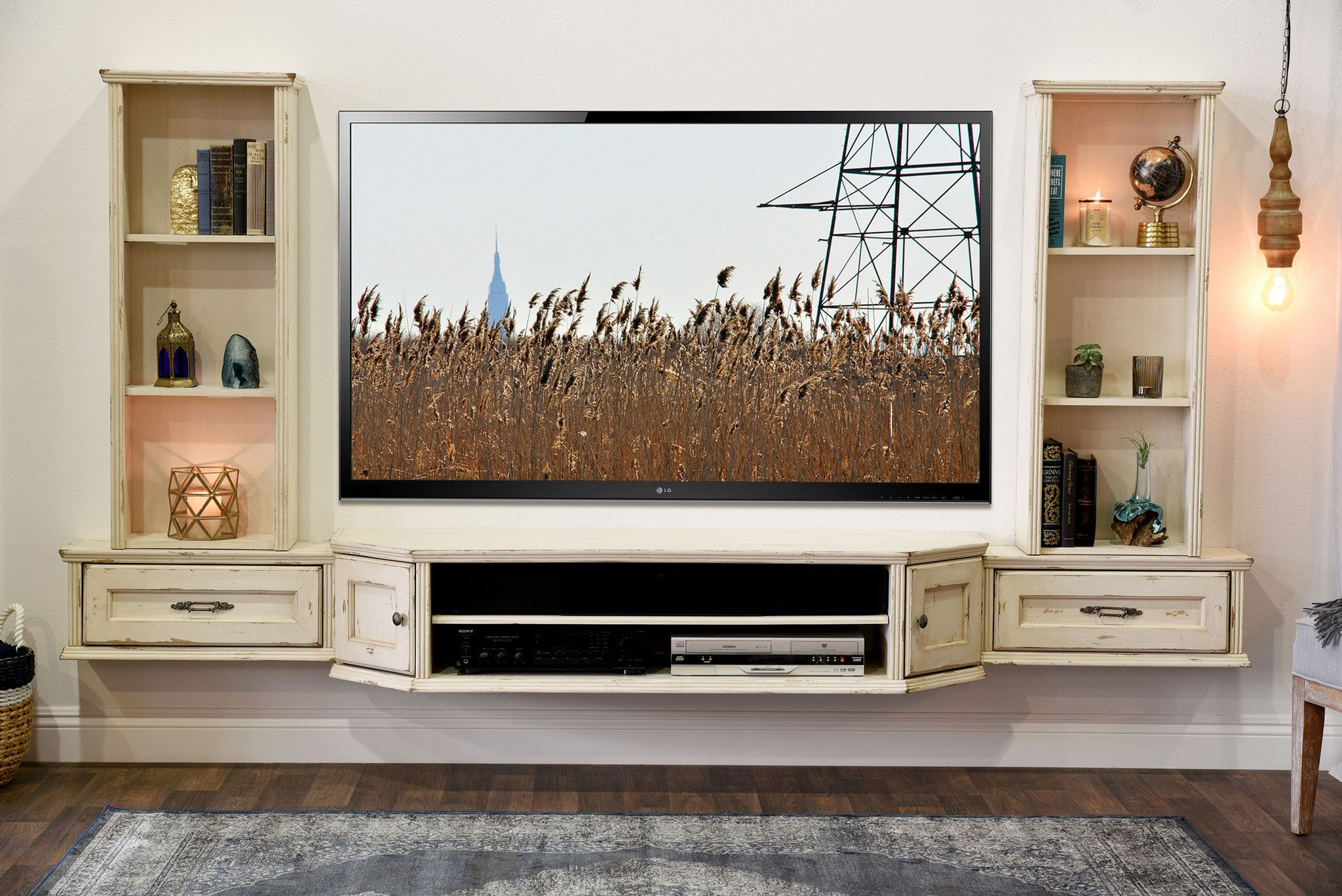 French Cottage Shabby Chic Floating Entertainment Center TV Stand