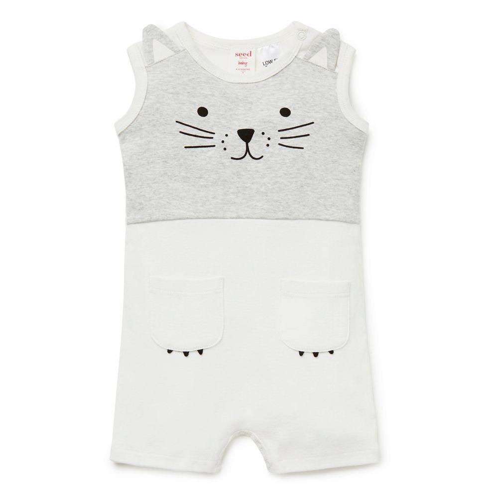 ccf805336243 Shop now  Novelty Cat Jumpsuit.  seedheritage  seednewborn