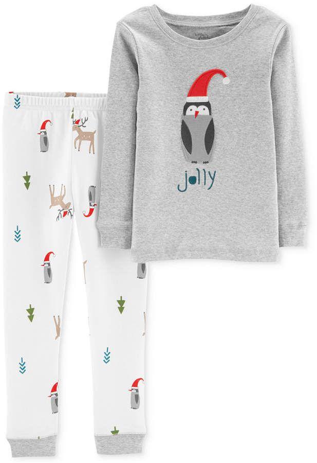 0ced4e5e5 Carter s Baby Boys 2-Pc. Cotton Holiday Penguin Pajamas Set - Gray ...