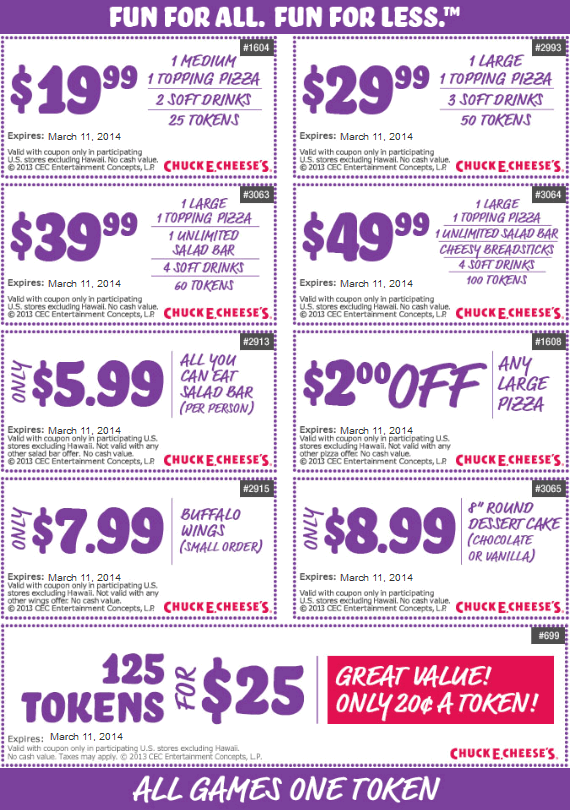 Pinned February 9th 125 Tokens For 25 And More At Chuck E Cheese Pizza Coupon Via The Coupons App Free Printable Coupons Chuck E Cheese Coupon Apps
