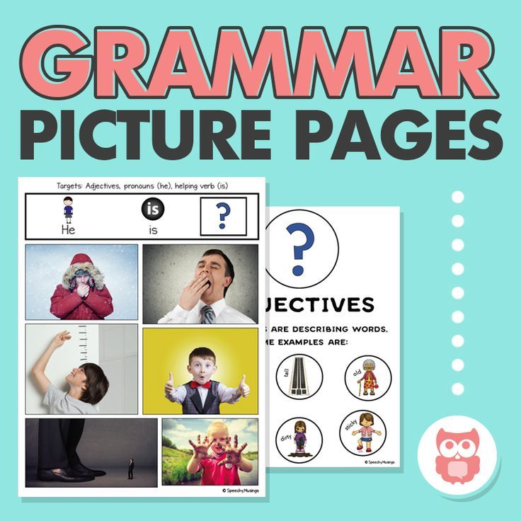 Target a variety of early language grammar structures with these print and go, low-prep visuals. A perfect speech therapy activity for elementary SLPs. Targets verbs, adjectives, adverbs, and more! From Speechy Musings.