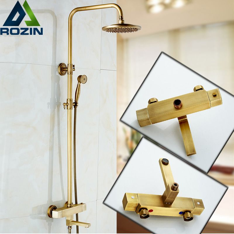 Bathroom Rainfall Antique Brass Thermostatic Shower Set Mixer Tap ...
