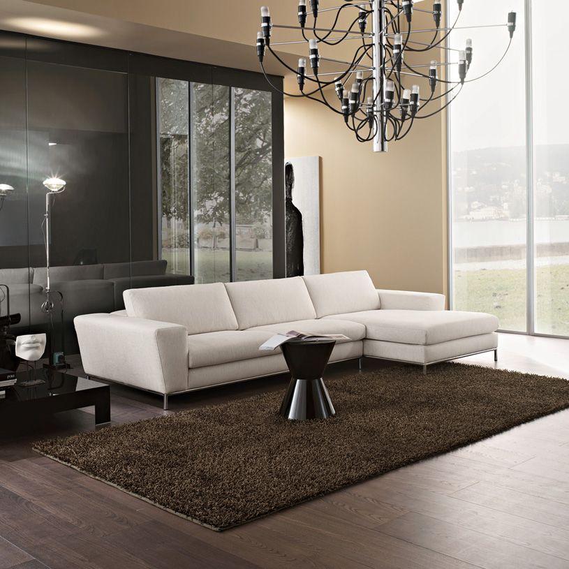 Aria Italian Corner Sofa With Adjustable Head In Ivory Fabric