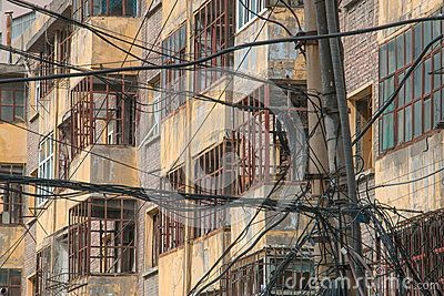 Cable chaos in front of apartments in Xinjiang China