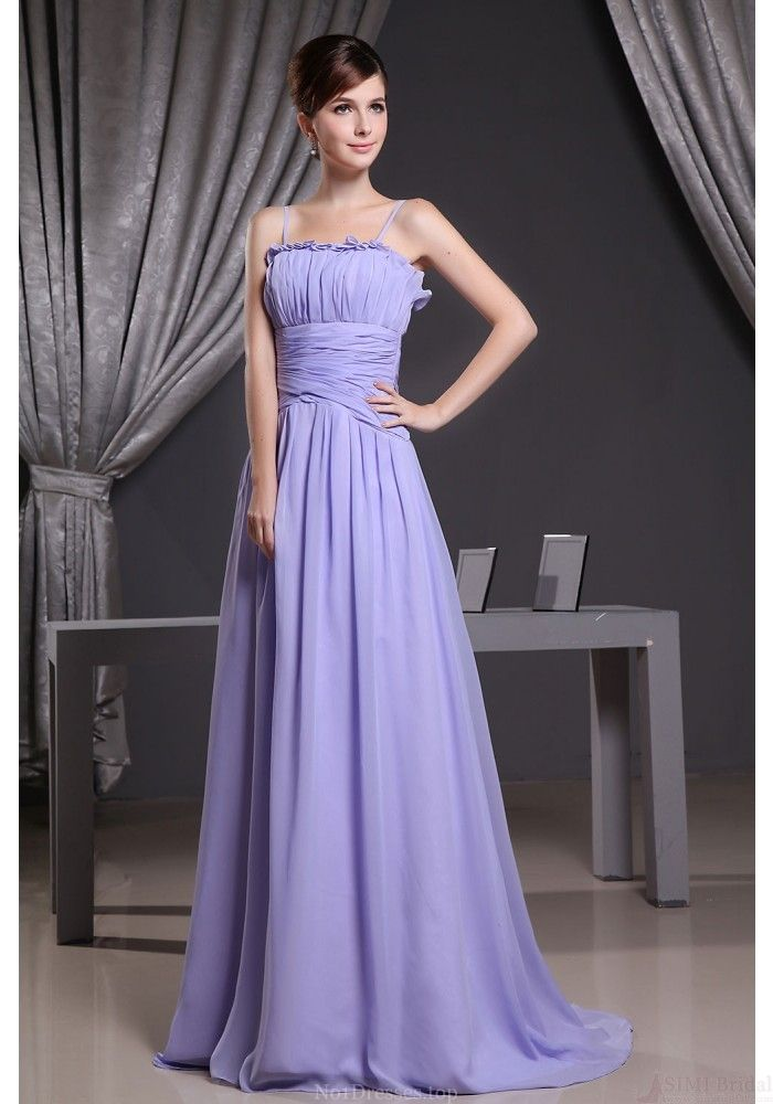 A-line Square Neck Floor-length Spaghetti Strap Chiffon Bridesmaid ...