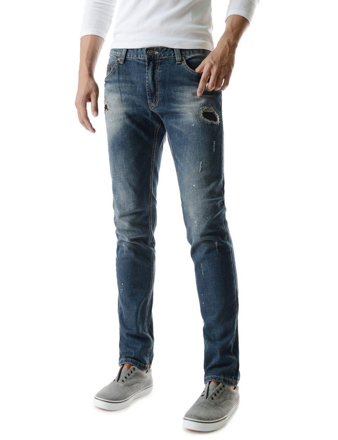 d01143cb08ef Sensual Mens Slim Fit Denim Pants Stylish Washing Unique Damage Jeans at  Amazon Men s Clothing store