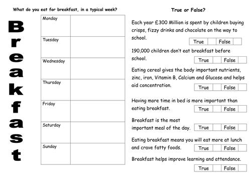 breakfast worksheet.doc   Healthy breakfast   Breakfast, Healthy ...