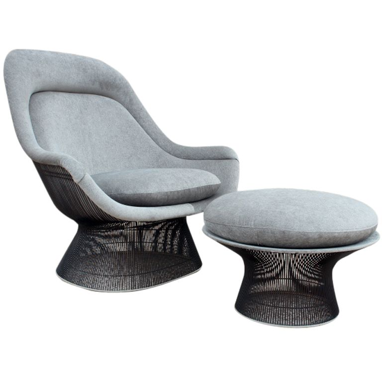 Bronze Throne chair and ottoman by Warren Platner, 1960s