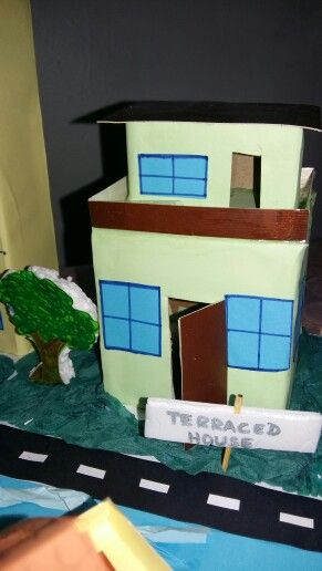 Model of a terraced house using cardboard boxes for school project ...