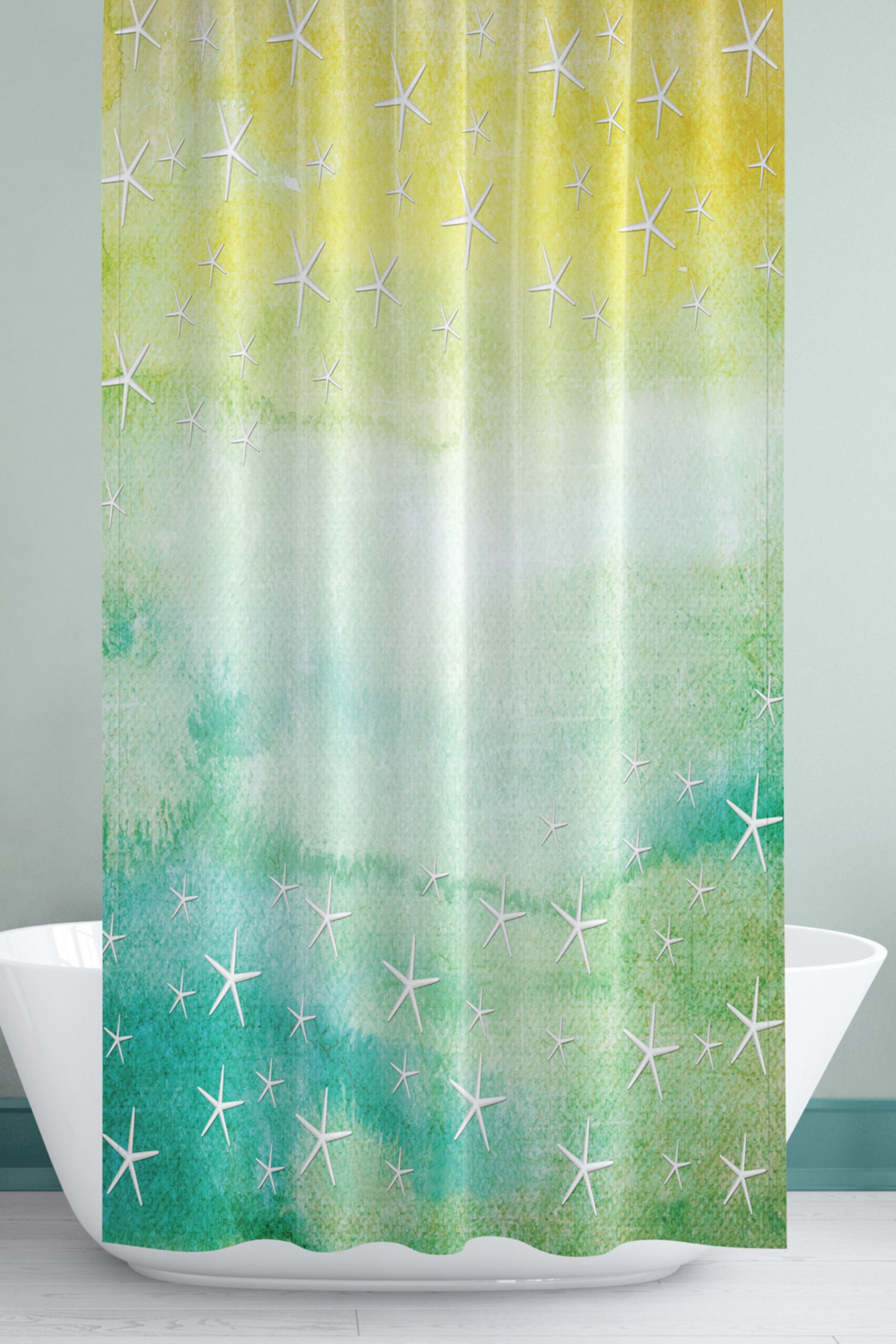 Abstract Shower Curtain With White Starfish Aqua And Green