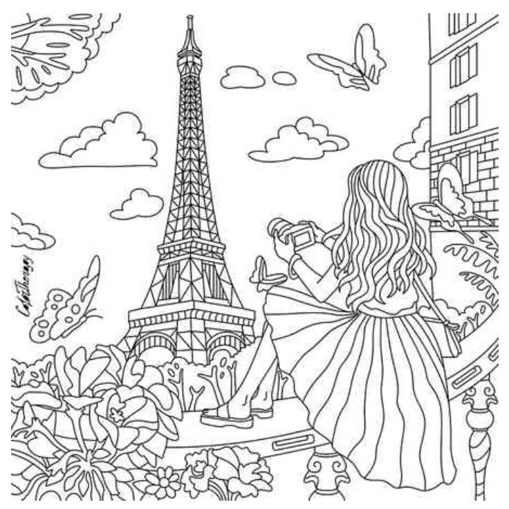 france coloring pages for girls | Paris coloring | ColorTherapy App | Architecture Coloring ...