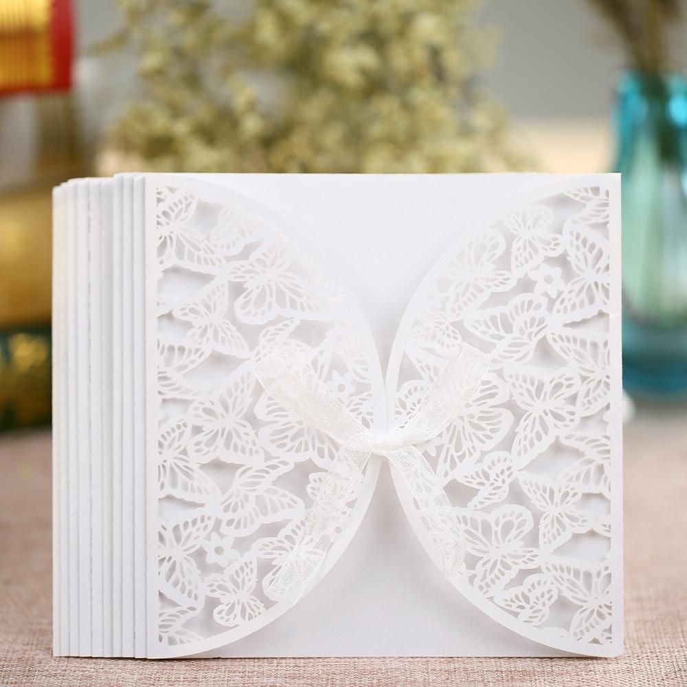 champagne blush wedding invitations%0A   x Elegant Wedding Party Invitation Card Carved Butterly Pattern  J      eBay